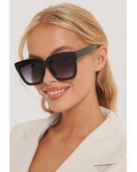 NA-KD Accessories Squared Oversized Sunglasses - Schwarz