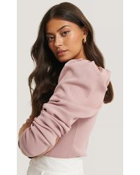 NA-KD Pink Light Knitted Puff Sleeve Jumper