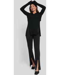 NA-KD - Front Slit Zipper Jersey Skinny Trousers - Lyst