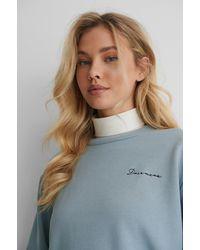 NA-KD Blue Embroidery Print Sweatshirt - Multicolor