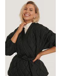 NA-KD Black Quilted Kimono Jacket