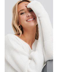 NA-KD Notched Neckline Ribbed Sweater - Wit
