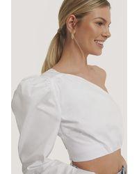 Glamorous White Asymmetric Crop Blouse