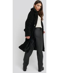 NA-KD Big Collar Teddy Coat - Zwart