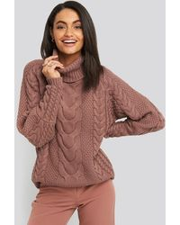 NA-KD Trend High Neck Cable Knitted Ribbed Sleeve Sweater - Pink