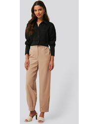 NA-KD Beige Darted Suit Trousers - Natural