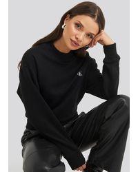 Calvin Klein Embroidery Regular Crew Neck Sweater - Zwart