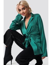 NA-KD - Twisted Front Blouse Dark Green - Lyst