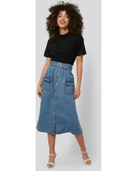 NA-KD Belted A-line Denim Skirt - Blauw