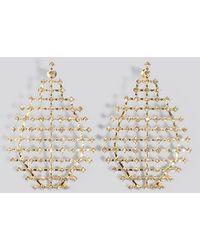 NA-KD Drop Rhinestone Net Earrings - Metallic