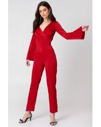 NA-KD Kimono Jumpsuit - Rouge