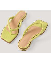 NA-KD Green Padded Strap Flip Flops - Multicolor