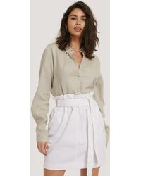 NA-KD Paper Bag Waist Denim Mini Skirt - Blanc