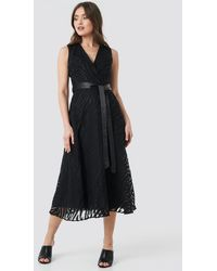 Trendyol - Belted Detailed Animal Midi Dress - Lyst