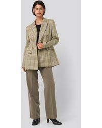 NA-KD Plaid Double Breasted Oversized Blazer - Groen