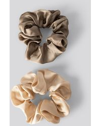 NA-KD Double Pack Shiny Satin Scrunchies - Meerkleurig