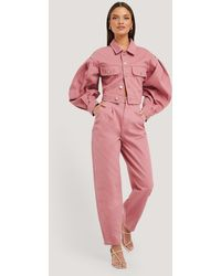 NA-KD Front Dart Slouchy Jeans - Roze