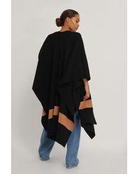 NA-KD Black Woven Stripe Poncho