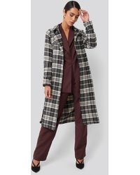 Trendyol Black Check Coat Black