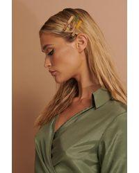 NA-KD 3-pack Wood Detail Hair Clip - Meerkleurig