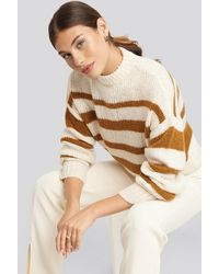 NA-KD Striped Round Neck Oversized Knitted Sweater - Bruin