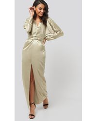 NA-KD Belted Batwing Sleeve Maxi Dress - Naturel