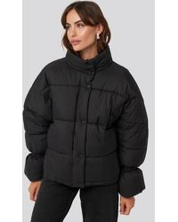 NA-KD Elastic Detail Puffer Jacket - Zwart