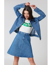 NA-KD A-line Midi Denim Skirt - Blau