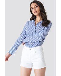 Mango - Frayed Denim Shorts - Lyst