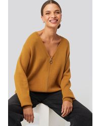 NA-KD Solid Knitted Cardigan Brown