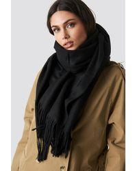 NA-KD Light Wool Blend Scarf - Zwart
