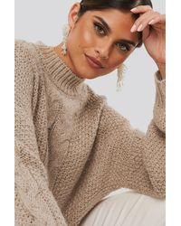 NA-KD Oversized Cable Knitted Sweater - Natur