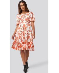 Trendyol Orange Patterned Midi Dress