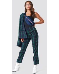 NA-KD - Straight Checkered Suit Pants Green - Lyst