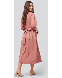 NA-KD Belted Balloon Sleeve Dress - Pink
