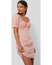 NA-KD Trend Minikleid Mit Puffärmeln - Pink
