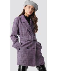 NA-KD Double Breasted Belted Jacket - Violet