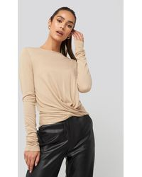 NA-KD Front Knot Long Sleeve Top - Mehrfarbig