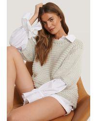 NA-KD Gray Detail Neck Short Sleeve Sweater