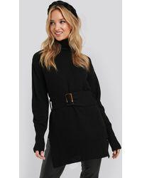 NA-KD Buckle Belt Knitted Sweater - Zwart