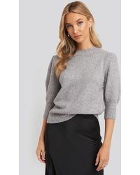 NA-KD Short Puff Sleeve Knitted Sweater - Grijs