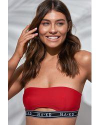NA-KD Swimwear Logo Cut Out Bandeau Bikini - Rot