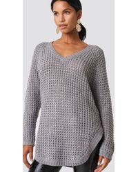 NA-KD - V-neck Pineapple Knitted Sweater Grey - Lyst