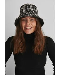 NA-KD Multicolour Chequered Tweed Bucket Hat - Black