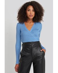Trendyol Wrap Knitted Top - Blauw