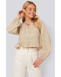 NA-KD - Beige Embroidery Frill Blouse - Lyst