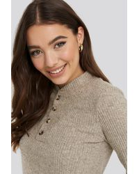 NA-KD Button Detail Long Sleeve Ribbed Top - Natur