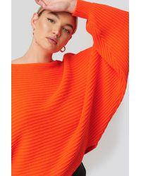 NA-KD Ribbed Batwing Sweater - Orange