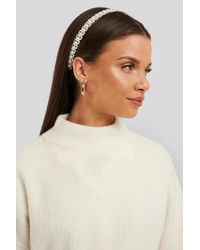 NA-KD Layered Pearl Hair Hoop - Wit