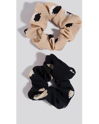 NA-KD Black,beige 2-pack Abstract Dots Scrunchies